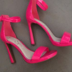 Pink patent leather stiletto